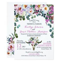 Boho Longhorn Cow Skull Floral Wedding Invitation - wedding invitations diy cyo special idea personalize card