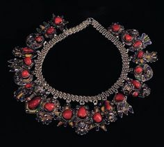Necklace from the Kabylie people of Algeria | Silver, coral and enamel