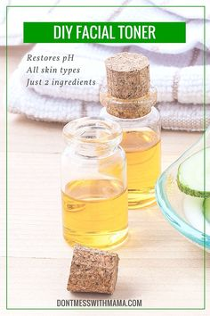DIY Facial Toner with Apple Cider Vinegar - Restores pH, Great for All Skin Types - DontMesswithMama.com
