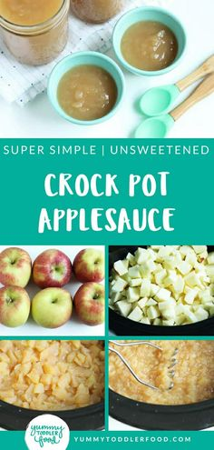 Super EASY crock pot applesauce made without added sweeteners and with a crazy easy method. Perfect results, every time! Healthy Snacks To Make, Healthy Toddler Meals, Healthy Recipes, Bariatric Recipes, Toddler Food, Healthy Cooking, Healthy Eats, Apple Recipes, Baby Food Recipes