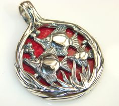 $50.25 Beautiful Fossilized Coral Sterling Silver pendant at www.SilverRushStyle.com #pendant #handmade #jewelry #silver #coral