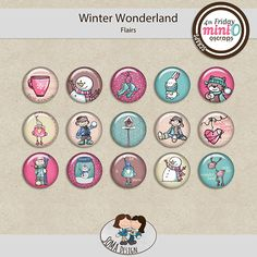 SoMa Design: Winter Wonderland - MiniO - Flairs 15 flairs are in the package, with cute handrawn pictures. Of Brand, Winter Wonderland, Digital Scrapbooking, Mini, Cute, Cards, Pictures, Color, Design