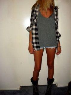 Moto boots + lumberjack shirt + grey shirt + shorts