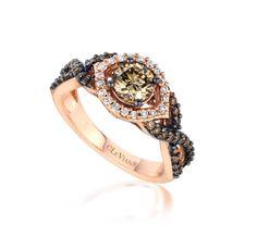 LeVian 14K Strawberry Gold Chocolate Diamond Bridal Ring 1.21TCW - YPVS101…