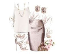 """Faux Leather Skirt"" by puppylove7 ❤ liked on Polyvore featuring Dsquared2 and L'Agence"