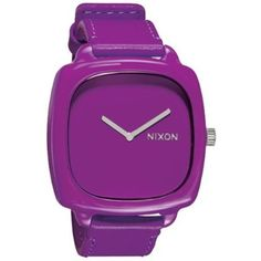 Nixon Women's 'The Shutter' Plastic Watch Purple (3,650 PHP) ❤ liked on Polyvore featuring jewelry, watches, purple, purple jewellery, crown jewelry, nixon, plastic watches and nixon watches