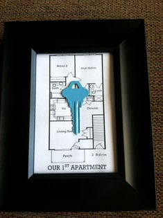 I made this for my boyfriend to remember our first apartment together. Printed out the apartment floor plan from the website. #boyfriendgifts #DIY #HomeDecor