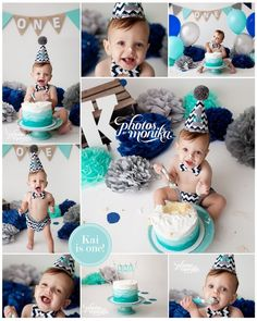 Navy, gray and blue cake smash