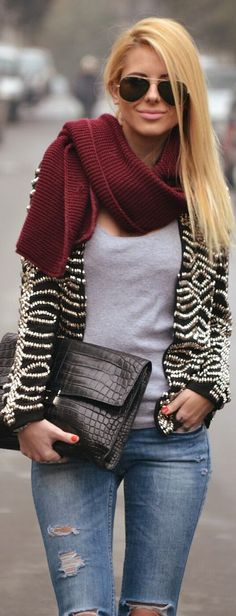 women, style, winter, fashion, outfit, clothing, jeans, blue, scarf, burgundy, sweater, striped, top, gray, sunglasses, portfolio