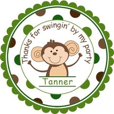 Cute Little Monkey w/Wide Polka Dot Border design.  Personalized stickers by partyINK.