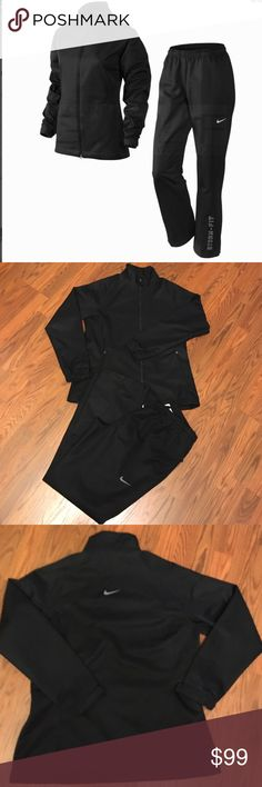 "NWOT Nike Golf Women's Storm-Fit Rain Suit NEW! NikeGolf Rain Suit/Tracksuit, Black with gray/silver detail, seam-sealed, waterproof, windproof, lined with mesh for enhanced breathability, Body: 100% polyester plain twill with laminate storm-FIT material, Lining: 100% polyester warp knit, Laminate polyurethane on back, 32"" inseam, Elastic drawstring waist, Full zip jacket/2 zip pockets/velcro fasteners at cuffs/Stand-up collar, back pant zip pocket, 13"" zip with velcro bottoms, size large…"