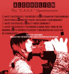 This is the criteria of the C.A.G.E questionnaire to determine if alcoholism is a possibility.