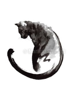 Black Cat Cat Painting Sumi-e Abstract Cat Lucky Symbol