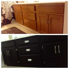 Cabinet Re-Staining with General Finishes Gel Stain ~ Java. So happy with the results. Home Renovation, Home Remodeling, Oak Bathroom Cabinets, Painted Furniture, Refinished Furniture, Furniture Redo, Master Bathroom Vanity, Cool Diy, Kitchen Furniture