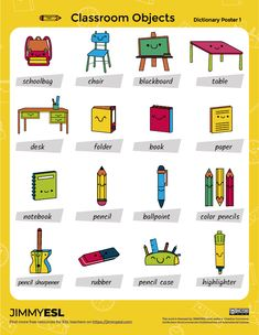 School & Classroom Objects – ESL Vocabulary Worksheets & Flashcards | JIMMYESL