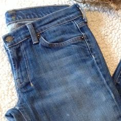 """☀️7 FOR ALL MANKIND☀️Dojo Flare SZ 28 Jeans☀️ Measures approx 30"""" waist, 7 1/2"""" rise, 28"""" inseam. Fabric is 91 cotton 9 spandex. Distressed finish, please see hole in back, not sure if it is part of design or not, shown in second photo. Super flattering flare cut!  7 for all Mankind Pants"""