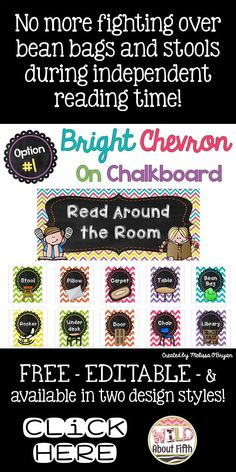 Have you downloaded my FREE 'Read Around the Room' set yet? This cute set is perfect for organizing your readers during independent reading time. No more fighting over bean bags and pillows! This set is editable so you can add your own classroom spots and it's available in TWO design styles!!!! We use it EVERY. SINGLE. DAY. in our classroom! #wildaboutfifthgrade