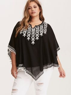 """This poncho is all the motivation you need to take that vacation finally. The lightweight black linen style is trimmed with shake-shake-shake pom trim along the v hem and back. The sheer look is detailed with intricate white embroidery.<div><br></div><div><b>Model is 5'8.5"""", size 1<br></b><div><ul><li style=""""list-style-position: inside !important; list-style-type: disc !important""""&g..."""