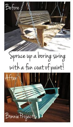 I went for it! Painted the porch swing!     We've really been enjoying the porch swing since we hung it last weekend. But it was a little ...