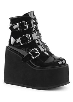 Black Patent Swing 105 Platform Ankle Boot at Gothic Plus - Gothic Clothing, Jewelry, Goth Shoes & Boots & Home Decor Buckle Ankle Boots, Wedge Ankle Boots, Platform Ankle Boots, Leather Ankle Boots, Ankle Booties, Shoe Boots, Platform Sneakers, Buy Shoes, Me Too Shoes