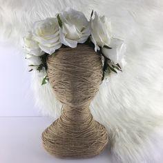 Garden Rose Artificial Flower Crown / Floral Wreath / Racewear / Girl / Hair Flowers Fake Flower Silk Fascinator White/ Cream Bridal Head by FauxFloralCo on Etsy https://www.etsy.com/au/listing/472119402/garden-rose-artificial-flower-crown