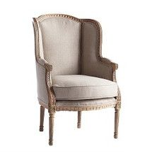 Beige unfinished look wingback chair