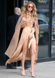 Gigi Hadid monotone dressing - in love with this peachy outfit on her golden skin and hair! Celebrity street style
