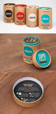 Reusable coffee cups packaged in recycled cardboard container that can also be reused by the consumer. Packaging looks fun and even provides different ideas on how to reuse the container. Brilliant!