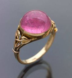 Pink tourmaline and gold ring c.1900 found on FB Vintage Bohemian