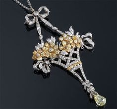 Edwardian Colored Diamond Flower Basket Pendant / Necklace Set In 18k Gold And Platinum ~ M.S. Rau Antiques