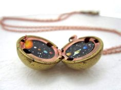 Solar System Locket - Sun & Planets in Outerspace, Original Hand-painted Vintage Jewelry