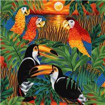 bunte tropische Vögel Stoff mit Papagei Robert Kaufman - Tierstoffe - Stoffe