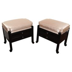 1stdibs   Pair of French Art Deco Stools with silk taupe textile