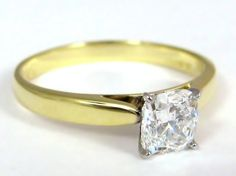 Yellow gold cushion cut diamond engagement ring
