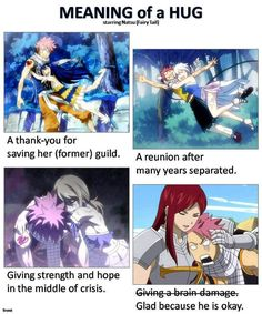 Meanings of hugs -- Natsu is just so huggable