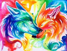 Colorful wolfs