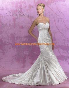 Sexy Brautkleid 2012 Bestverkauft aus Satin Meerjungfrau mit Perlen