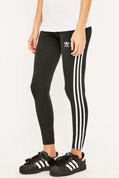 adidas Originals Three Stripe Black Leggings - Urban Outfitters Leggings  Noirs fdb2b1986b2