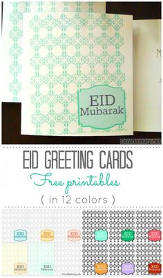 Best Eid greeting cards for your loved ones. Personalized and custom free printable greeting cards in many new colors and modern designs. Eid Crafts, Ramadan Crafts, Ramadan Decorations, Holiday Crafts, Printable Cards, Free Printables, Eid Greeting Cards, Ramadan Activities, Eid Mubarak Greetings
