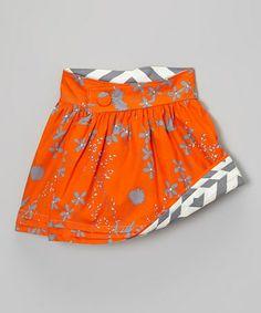 Sunset & Gray Asphalt Reversible Wrap Skirt - Toddler & Girls #zulily #ad *love the reversible pattern