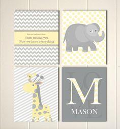 Elephant nursery, giraffe, baby boy nursery, first we had each other, then we had you, baby monogram, nursery quote wall art, set of 4 by PicabooArtStudio, $28.00