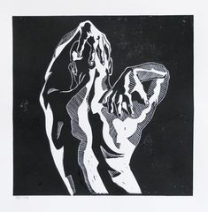 Male Nude Art Lino Cut By Andrew Orton .Print Hand Pulled Expressionist Style Lino Print Male Body Male Form Original Print