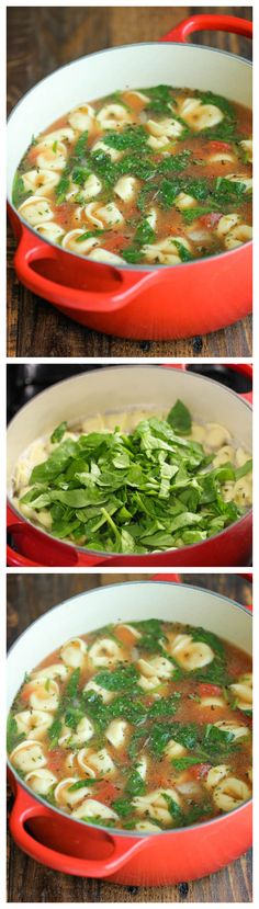 Spinach Tomato Tortellini Soup - The easiest, most comforting and hearty soup ever. All you need is 5 min prep.