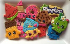 My sisters birthday is coming up but she wants a shopkins party she hates cake and cupcakes but loves cookies such a good idea!