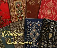 Antique Gold Embossed Book Covers - INSTANT DOWNLOAD- 4 x 2.5, Backgrounds, Collage, Printable, Scrapbooking, Victorian Ephemera, PNG