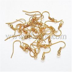 [AU $1.05]Golden Iron Earring Hooks(X-E135-NFG) - Golden Iron Earring Hooks, Nickel Free, Size: About 18mm High, 0.8mm Thick, Hole: 3mm