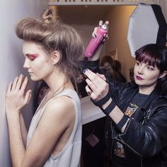 Last minute touch ups backstage at the @nom_d #marrfactory show with @Sophy Phillips. Thank goodness for hairspray in a pink can! @stephen_marr