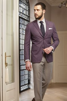Purple casual jacket, part of jackets - Because of its suits, custom suits, and groom suits, Tudor Personal Tailor is a staple of masculinity that leads us to think of British inspiration and Italian craftsmanship. Fashion Suits, Mens Fashion, Tudor Tailor, Suit Jacket, Vest, Sport Coats, Ss 15, Spring Summer 2015, Men's Style
