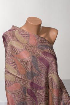 PINK Paisley Shawl Wrap. Valentine Paisley scarf by scarfstore2012