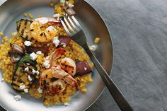 Find the recipe for Grilled Shrimp and Vegetables with Pearl Couscous and other herb recipes at Epicurious.com